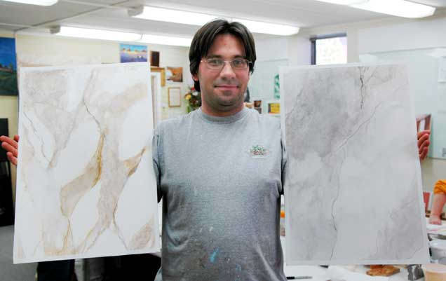 Academy of Wall Artistry Student work Venetian Plaster as Marble